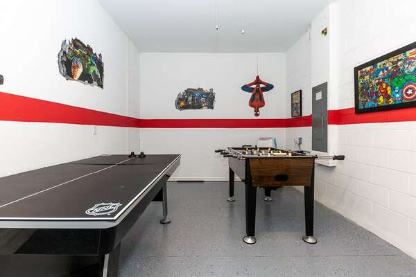 Get your game on in this fun superhero game room
