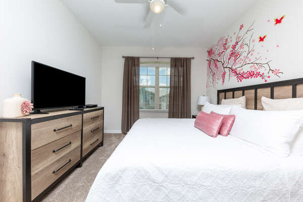 This comfortable King bedroom is on the second floor