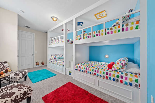Kids will want to spend all day in this fun bedroom