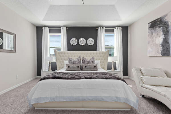 Bright and sunny master suite with a King bed
