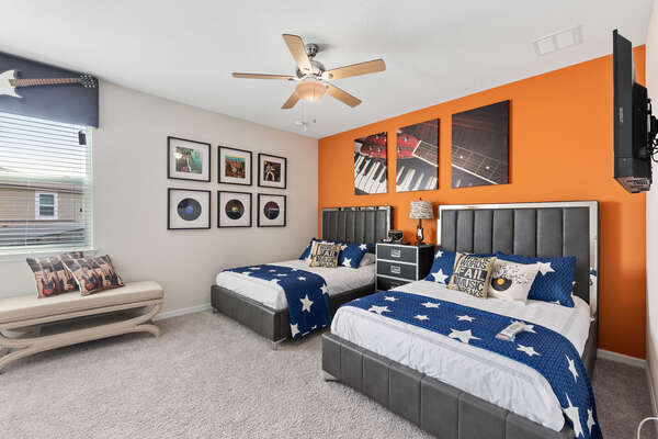 This music themed bedroom is perfect for teens or kids