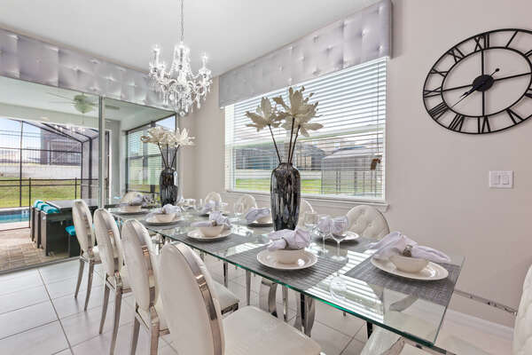 The whole family can gather at the formal dining table