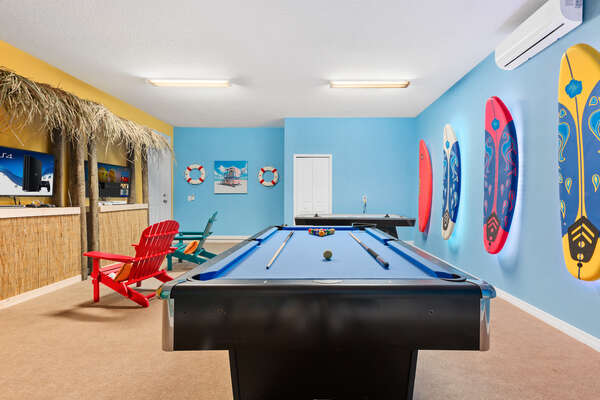 Fun tropical vacation room for the whole family to enjoy