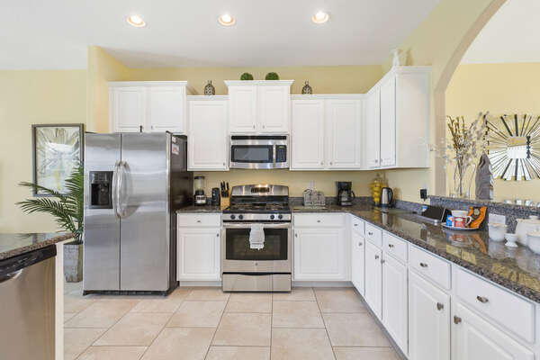 Spacious fully-equipped kitchen is perfect for preparing meals