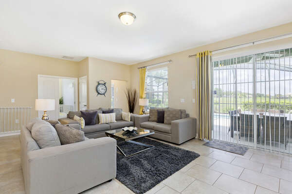 Bright and sunny open concept living space