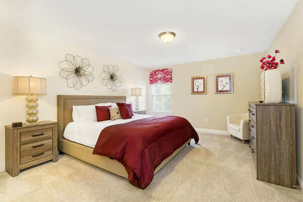Plush king bedroom with floral accents