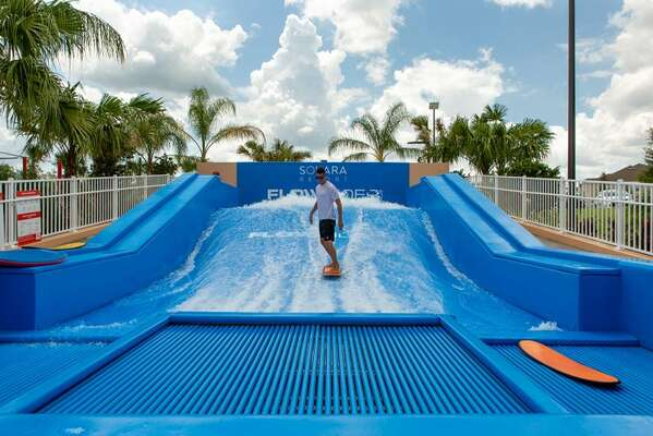 Hang 10 at the Solara Resort Clubhouse FlowRider
