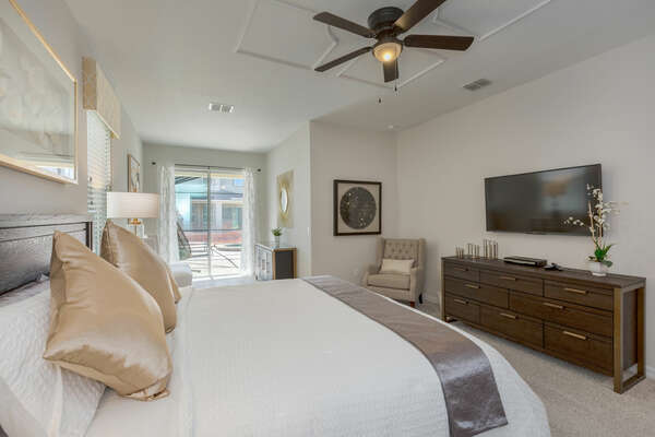 The master suite also features access to the pool deck