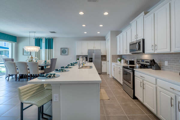 The fully-equipped kitchen is perfect for preparing family meals