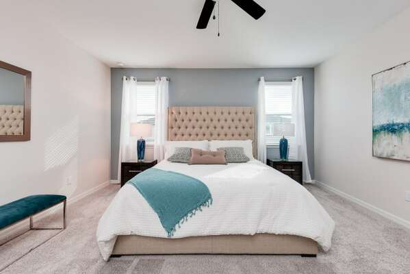 Beautiful King bedroom is perfect for relaxing