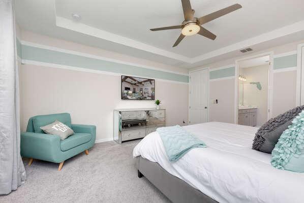 Beautiful seafoam bedroom on the first floor