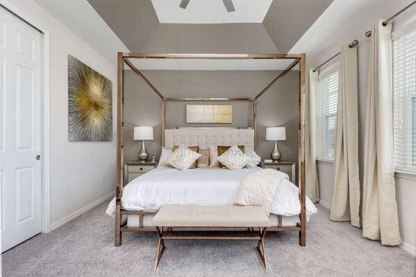 Second floor champagne gold bedroom
