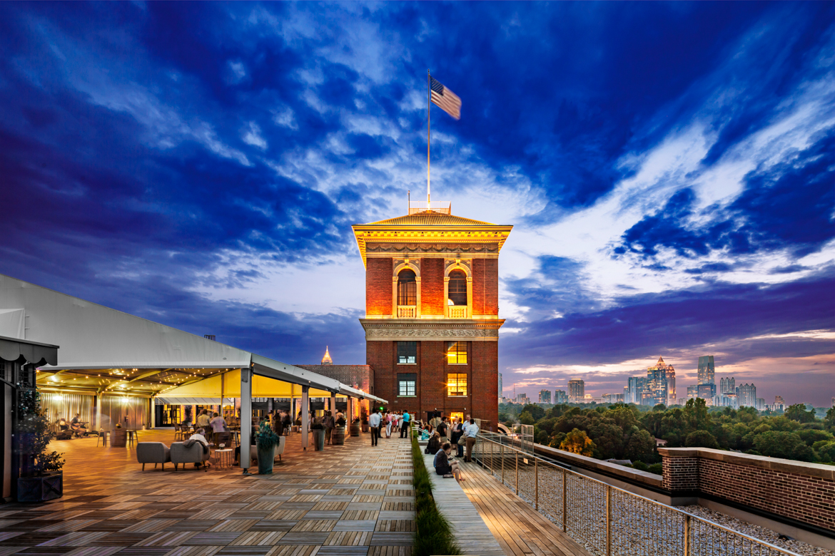 Rooftop of Ponce City Market over looking downtown