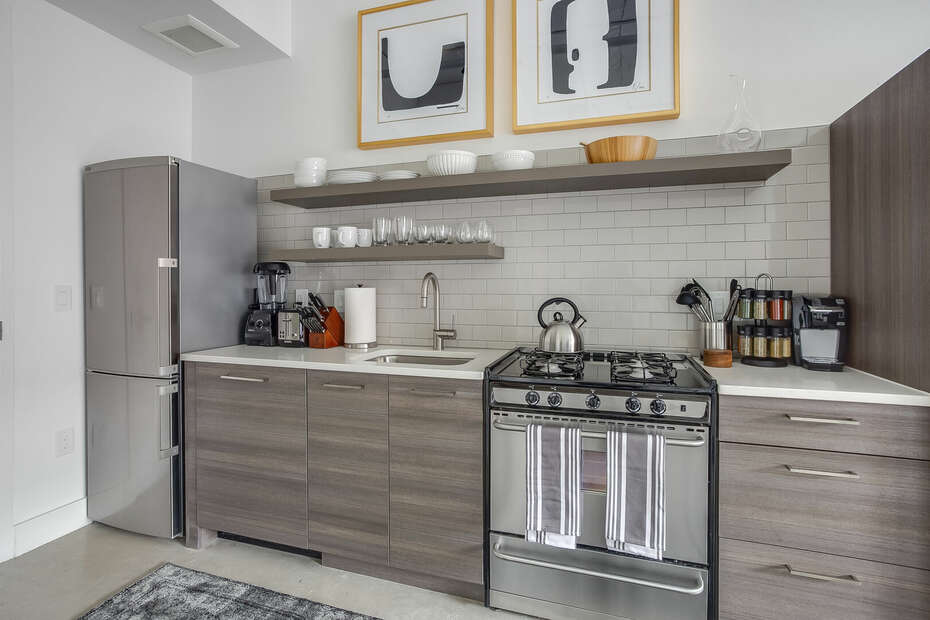 Fully Stocked Kitchen at Ponce Market Apartment