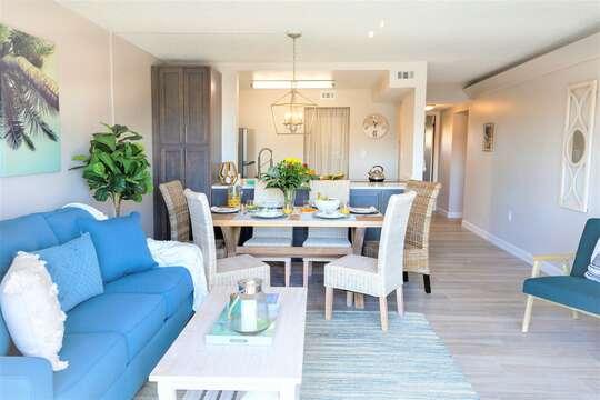 Open concept living room, dining room & kitcehn