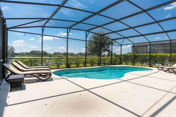large screened in pool deck