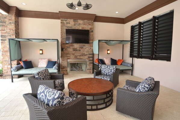 On-site facilities:- Outside seating area with fireplace and TV