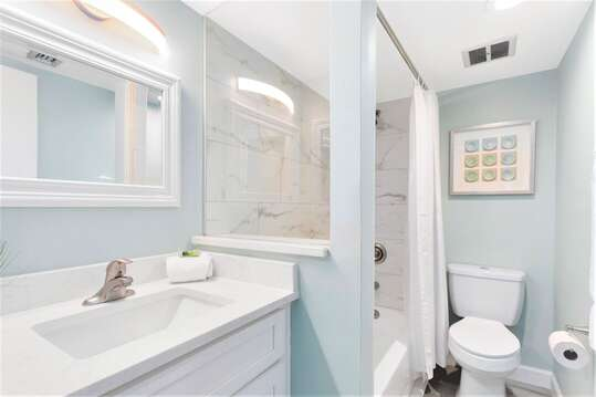 Calming master ensuite with tub, shower surround, new toilet & vanity