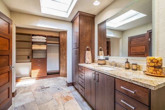 Master Bath 2 with Lovely Tile Flooring and Granite Counters, Tile Shower and Walk-in Closet