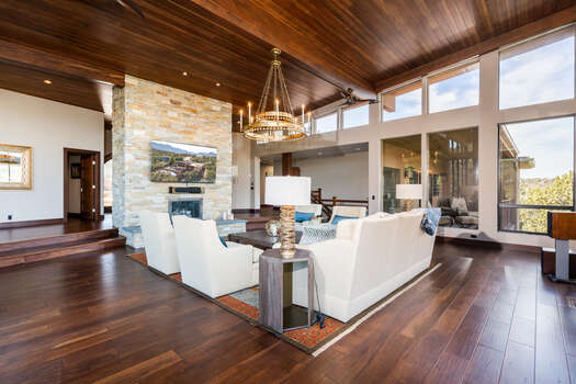 Acacia Hardwood Floors, and Solid Wood Walnut and Douglas Fir Woodwork Throughout this Meticulous Sedona Oasis