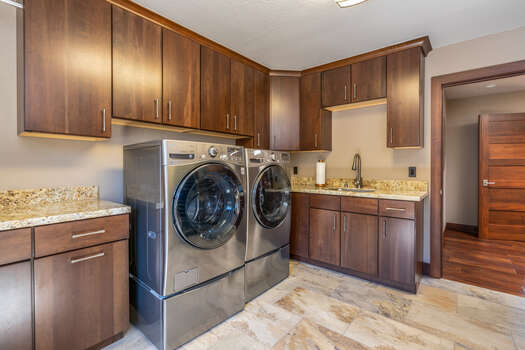 Laundry with Full-Size Front Load Washer and Dryer