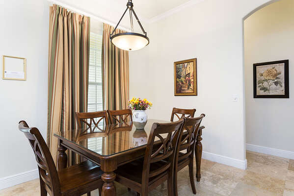 Formal dining area seats 6
