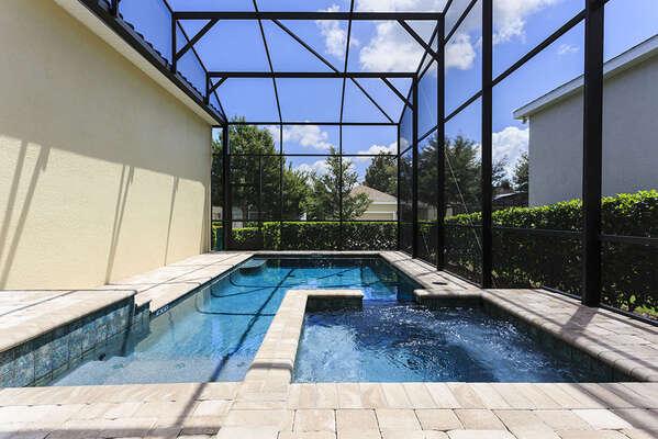 Swim or soak in the spillover spa