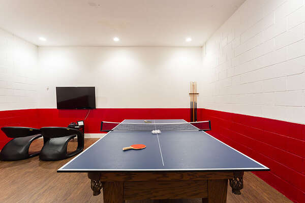 The pool table converts into ping pong