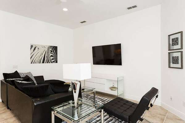 Luxurious modern living space, complete with TV