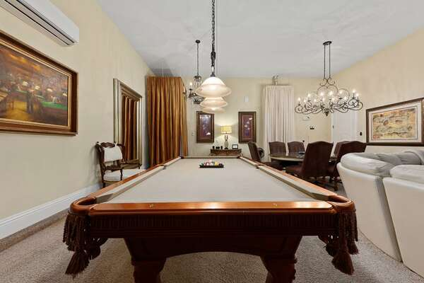 Challenge your family members to a game of pool