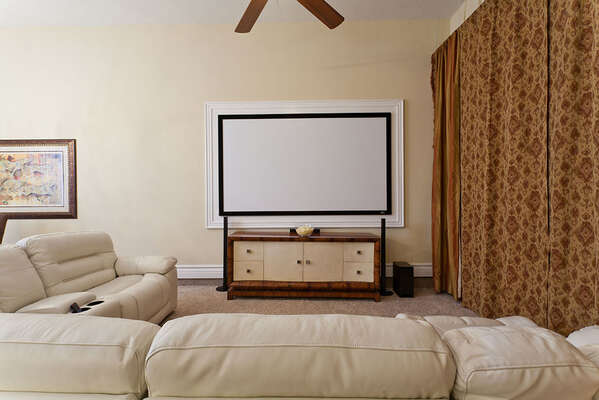 Fun movie and game room with a Playstation 3 and 100-inch projector