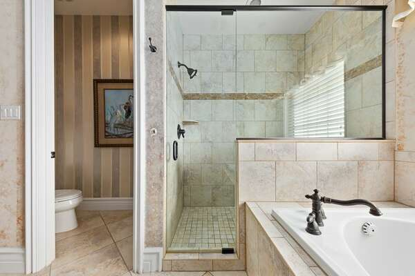 Features a garden tub and walk in shower