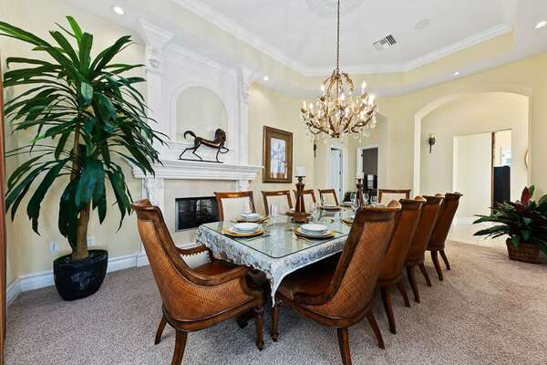 Celebrate at the formal dining table with seating for 10