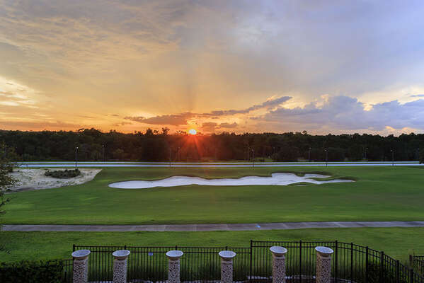 Enjoy the gorgeous sunset and golf course views from your own private balcony
