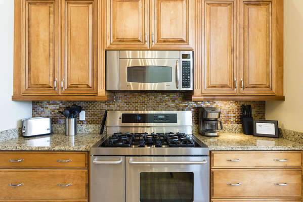 Featuring upgraded stainless steel appliances