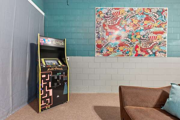 Play all day in this fun arcade game room