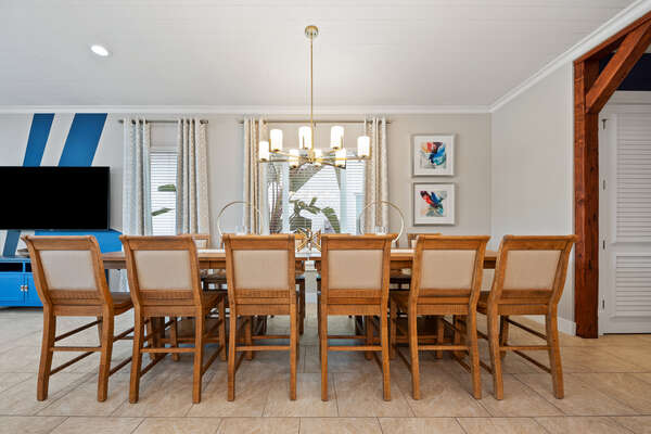 Dine at the formal dining table with seating for 12