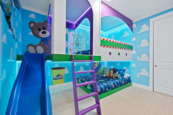 Your favorite characters decorate this bedroom
