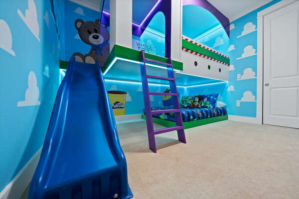 Slide down the bunk bed slide to start your exciting Orlando vacation day!