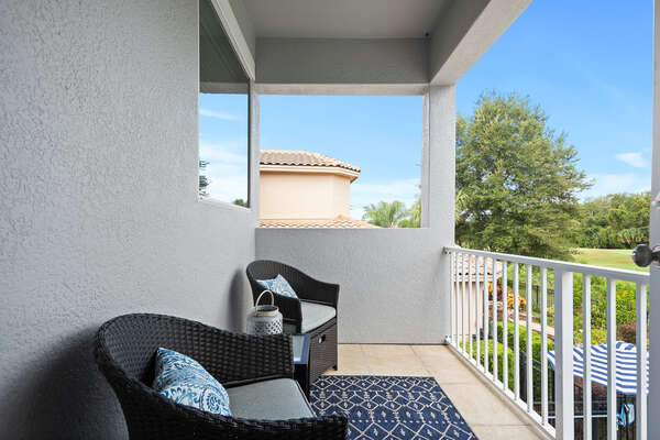 Relax on your balcony overlooking the beauty of Reunion Resort