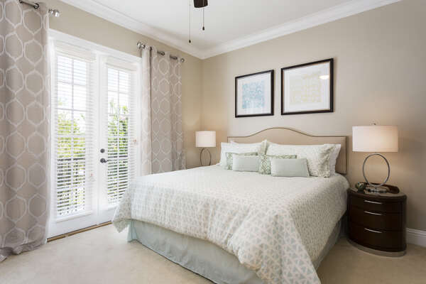 Upstairs king bedroom with everything you need to relax
