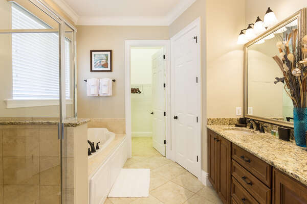 Large master bathroom with oversized tub, glass shower and walk in closet