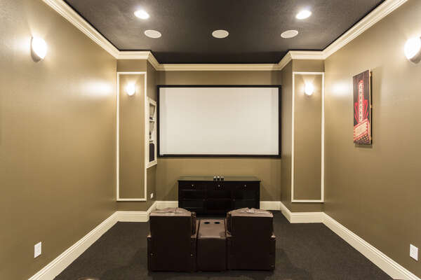 The home theater features a projection screen