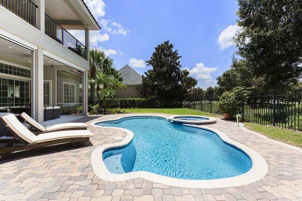 Your family will enjoy taking a dip or relaxing on the comfortable patio furniture