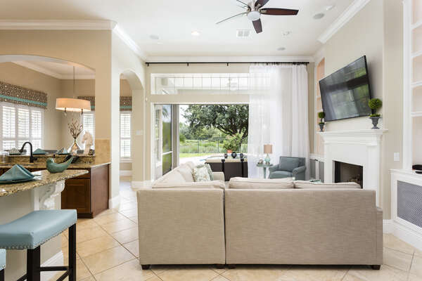 Enjoy an open floor plan and easy access to the pool area