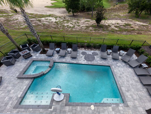 The expansive pool deck features fun for everyone