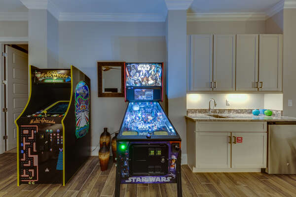 Play on the custom multi-arcade or Star Wars pinball machine