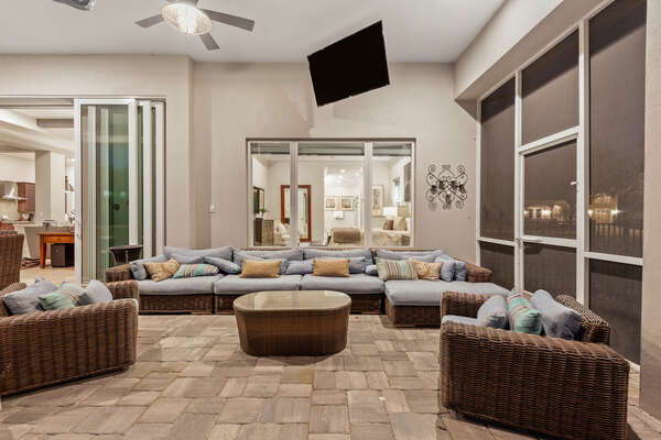 Plush patio furniture and outdoor TV