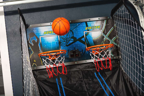 The game room even features a basketball game