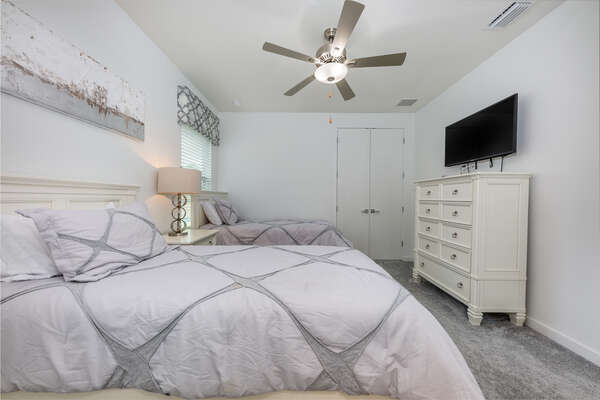 Two twin beds in this bedroom